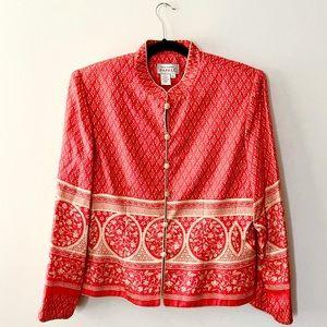 ADRIANNA PAPELL Silk Button-Down Blazer Jacket